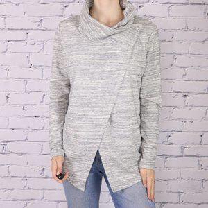 Danskin grey wrap mock neck long sleeve sweater b1